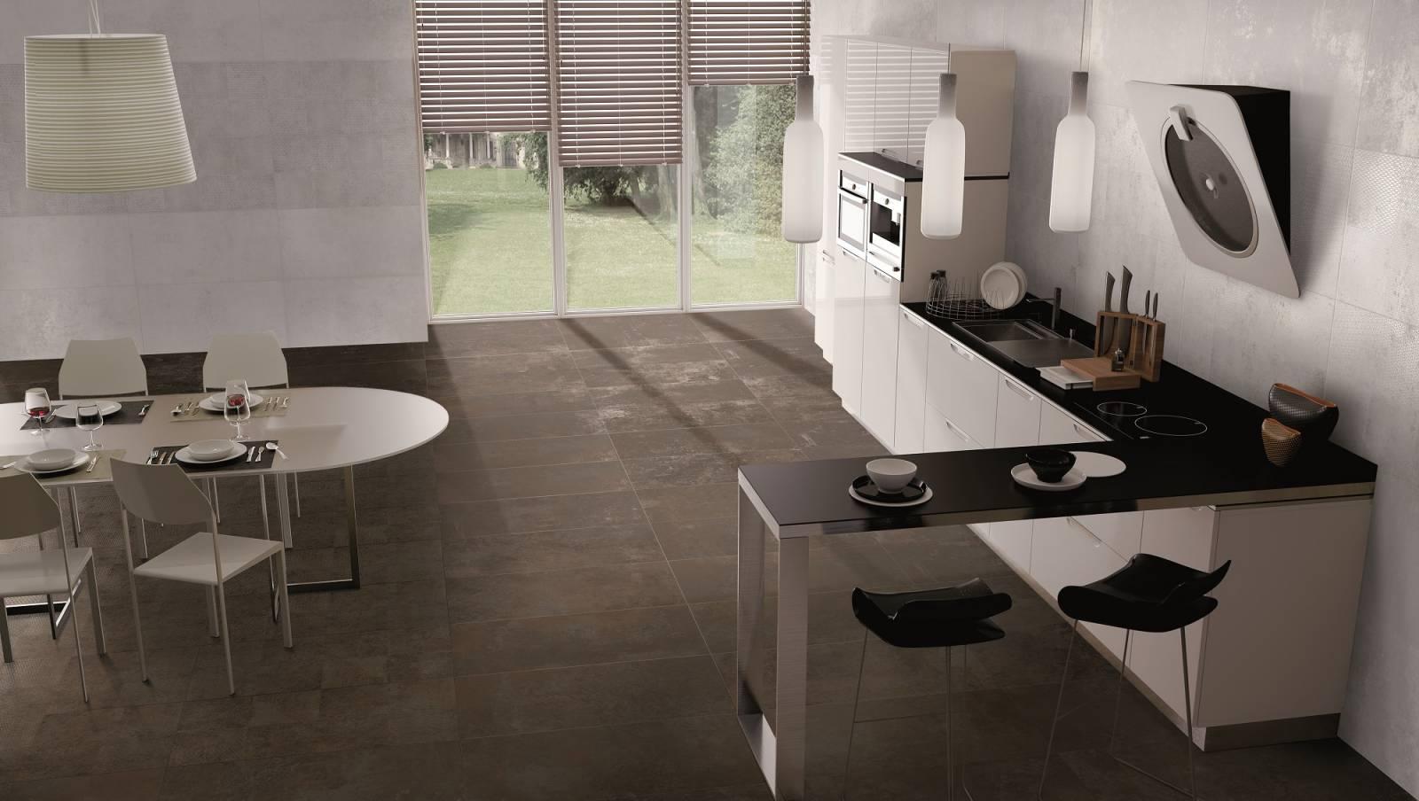 Carrelage grand format esprit metal pour sol et mur, grand passage : Titan - Carrelage Concept ...