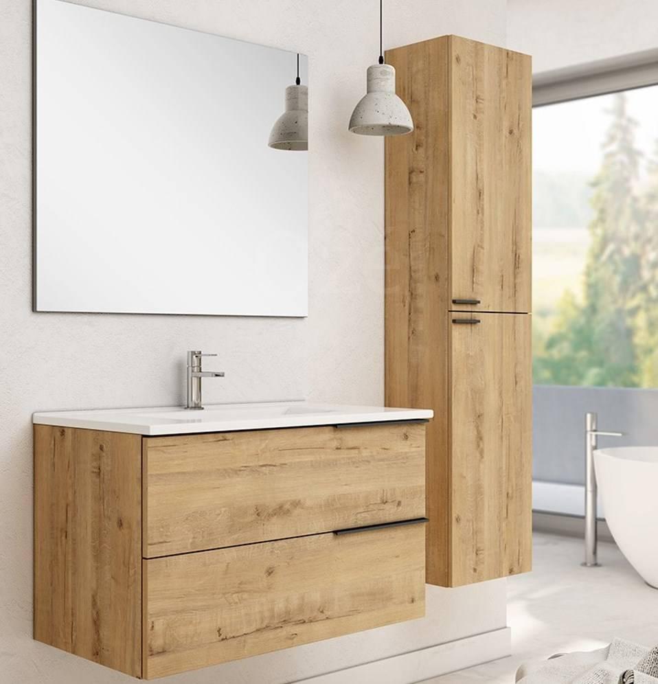 Meuble suspendu contemporain de salle de bain aspect bois proche de Mérignac : Celtik