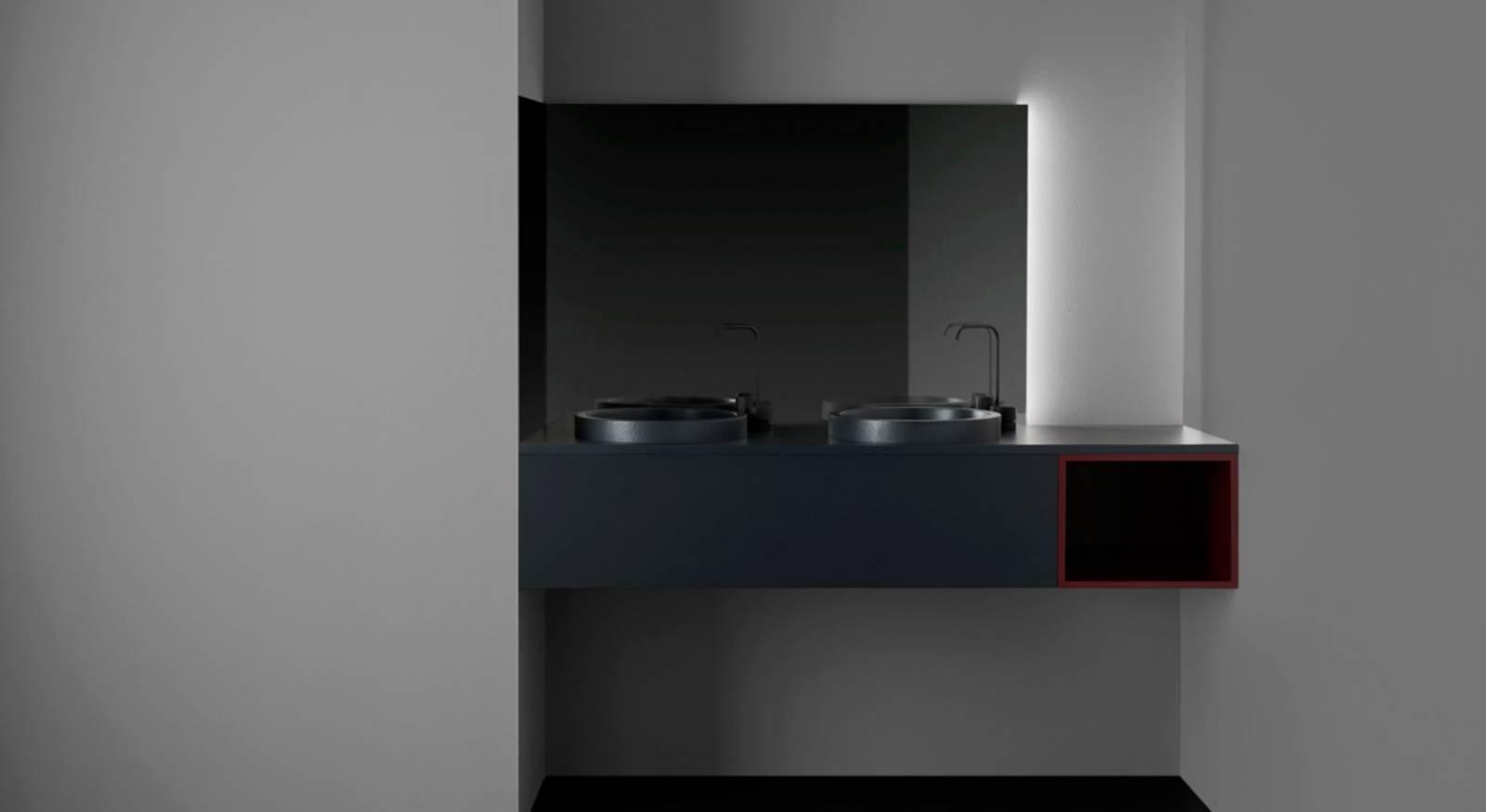 Un meuble de salle de main moderne sur mesure avec vasque résine