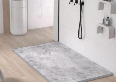 Bac de douche en résine extra-plat avec un décor bois, marbre, béton ou terrazzo : Bac3D 2020