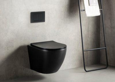 WC suspendu sans bride noir (existe en blanc).