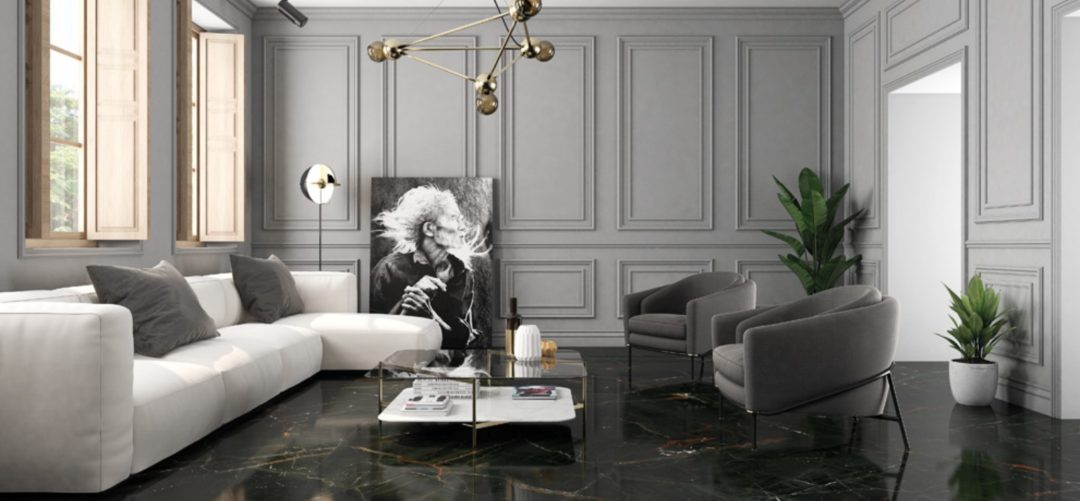 Carrelage grand format imitation marbre noir poli Bordeaux : Vanity