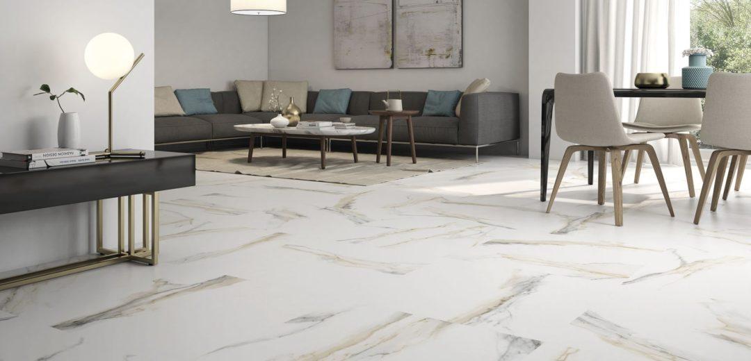 Carrelage sol imitation marbre blanc veine dorée grand format Bordeaux : Atlantis Gold