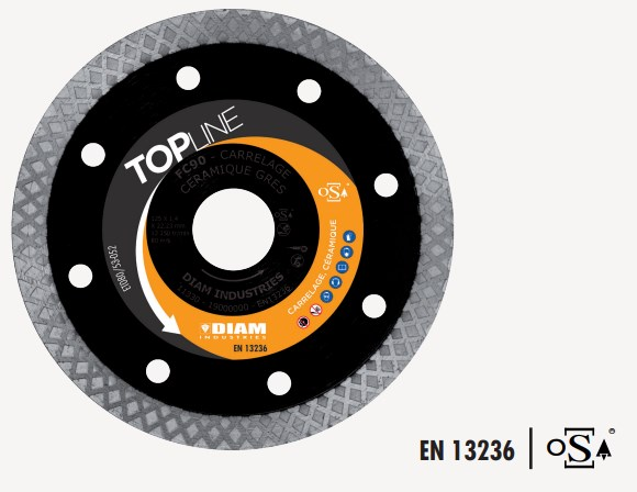Disque Diamant FC90 Ø125 pour coupe de grès cérame, céramique, faïence, carrelage DIAM