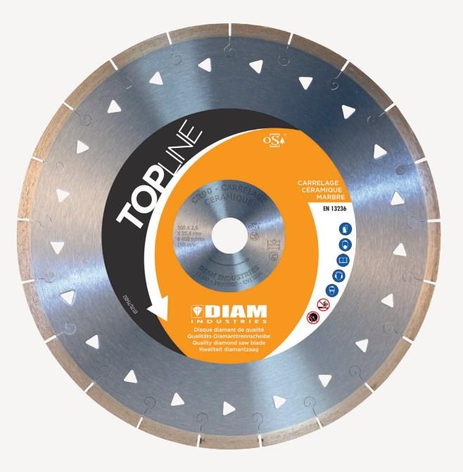 Disque diamant CR90 Ø250 découpe à l'eau spécial dalles et carrelages très dur Diam