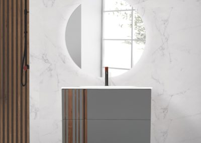 Meuble de salle de bain en Noyer Massif: Série Elya