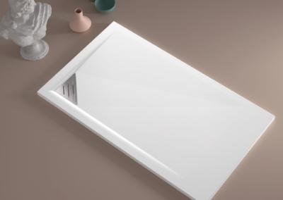 Bac de douche extra plat 3cm évacuation en angle Série Stone Mio