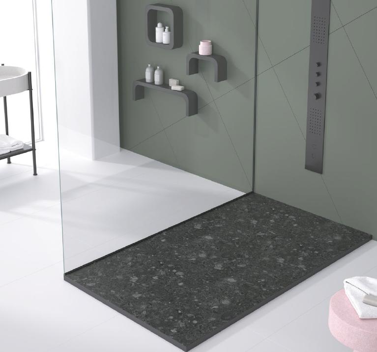 Receveur de douche extra plat en résine 3D imitation Terrazo
