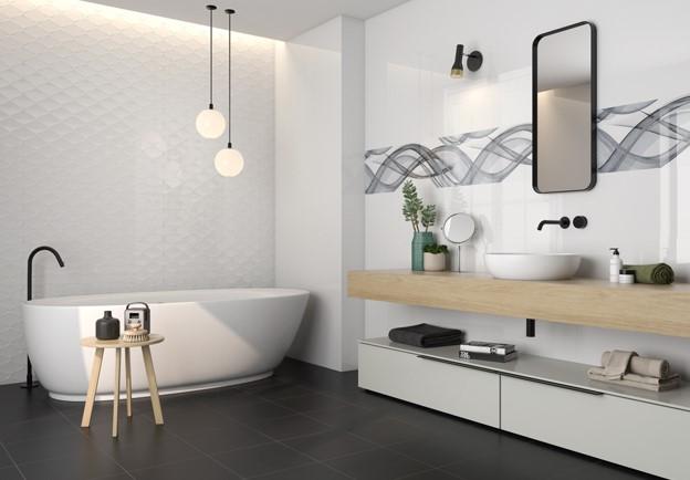 Carrelage mural grand format pâte blanche moderne et design avec décors texturés : Blancos TTG