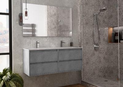 Meuble de salle de bain à suspendre ou à poser sur pieds Laqué ou Mélaminé Série CORFU